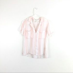 Anthropologie Cloth & Stone White Pink Striped Top